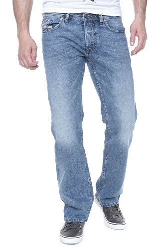 41K2jgSW5YL Straight-leg jean in medium wash featuring whiskering and fading to the knees Five-pocket styling Zip fly with button