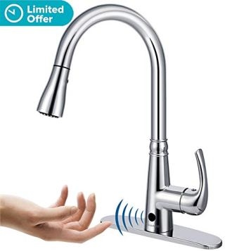 Motion Sensor Kitchen Faucet with Sprayer - Polished Chrome No Touch Touchless Faucets Stainless Steel Single Handle Spot Resist by BOHARERS