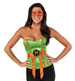 Rubie's Women's TMNT Classic Costume Sequined Michelangelo Corset, Green, Large
