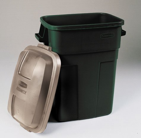 Rubbermaid Roughneck Trash Container 30 Gal Rectangular Plastic Evergreen, Gold