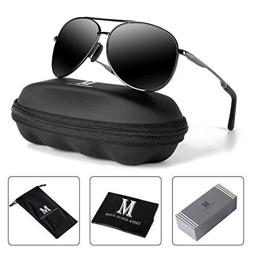 Aviator Sunglasses for Men Polarized Women-MXNX UV Protection Lightweight Driving Fishing Sports Mens Sunglasses MX208-(Gun/Black Lens)