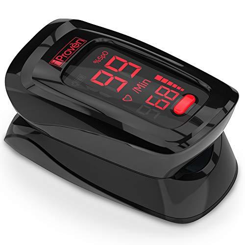 Pulse Oximeter Fingertip - iProven OXI-27 Black - Oxygen Monitor with Heart Monitor - Oximetro - o2 Saturation Monitor