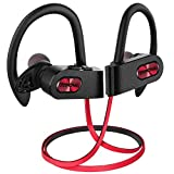 Mpow Flame2 Bluetooth Headphones 13-Hr Playtime, Bluetooth 5.0 Wireless Earbuds, IPX7 Waterproof Wireless Sport Earphones w/CVC 6.0 Noise Cancelling Mic, Ergonomic Ear Hooks for Running Workout, Red