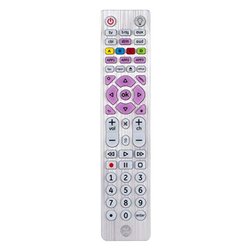 GE Universal Remote Control, Backlit, for Samsung, Vizio, LG, Sony, Sharp, Roku, Apple TV, RCA, Panasonic, Smart TVs, Streaming Players, Blu-ray, DVD, Simple Setup, 6-Device, Silver, 37038