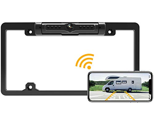 FOOKOO II License Plate Wireless Backup Camera, Rear View Camera 170° Viewing Angle Universal Car License Plate Frame,IP69K Waterproof, Fits All Cars Vehicles.