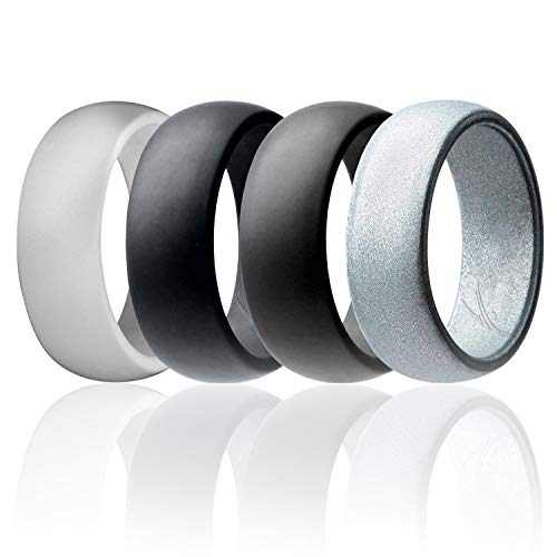 ROQ Silicone Wedding Ring for Men Affordable Silicone Rubber Band, 4 Pack - Light Gray, Metal Look Silver, Black, Grey - Size 12