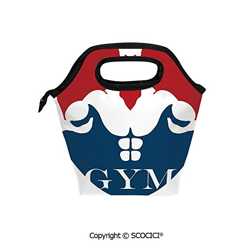 Printed Pattern Portable Lunch Tote Bag Strong Muscular Man with Biceps Powerful Athlete Bodybuilder Trainer Gym Logo Decorative insulation cold outdoor picnic lunch box bag.
