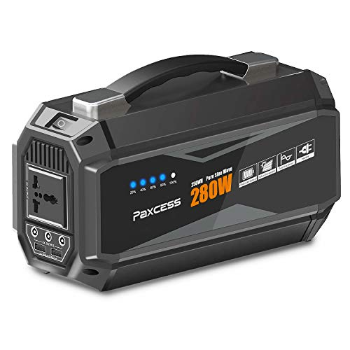 PAXCESS Generator Portable Power Station-[280Watt / 67500mAh Upgraded]-Lithium Battery Pack Supply with 110V AC Outlet, 3 DC 12V Ports, 2 USB Port, Solar Generators for Camping Travel Home CPAP