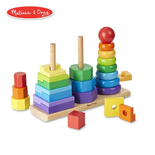 Melissa & Doug Geometric Stacker Toddler Toy (Developmental Toys, Rings, Octagons, and Rectangles, 25 Colorful Wooden Pieces)