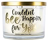 Aromascape 'Couldn't Bee Happier for You' 3-Wick Scented Candle (Honey, Vanilla and Almond Milk), 11-Ounce
