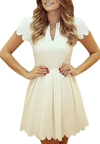 41KJSXIAMXL Sidefeel Owns Its Own Trademarks.The Serial Number: 86907329. Cutting out Scallop trim at the Short Sleeves and Hemline to show off a Sweeter Look It's a CUTE, PRETTY and STYLISH dress for fashion ladies