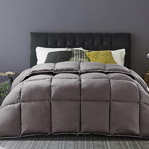 Brermer Soft Queen Goose Down Alternative Comforter, All Seasons Puffy Warm Duvet Insert with 8 Corner Tabs, Luxury Reversible Hotel Collection, 90'x 90', Grey