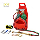STKUSA Professional Torch Kit Tote Oxygen & Acetylene Tanks Welding Cutting Regulator w/Carrying Stand (DOT Approved)