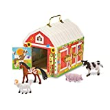 """Melissa & Doug Latches Barn Toy (Developmental Toy, Helps Improve Fine Motor Skills, Painted Wood Barn, 10.5""""H x 7.5""""W x 10"""" L, Great Gift for Girls and Boys - Best for 3, 4, 5 Year Olds and Up)"""