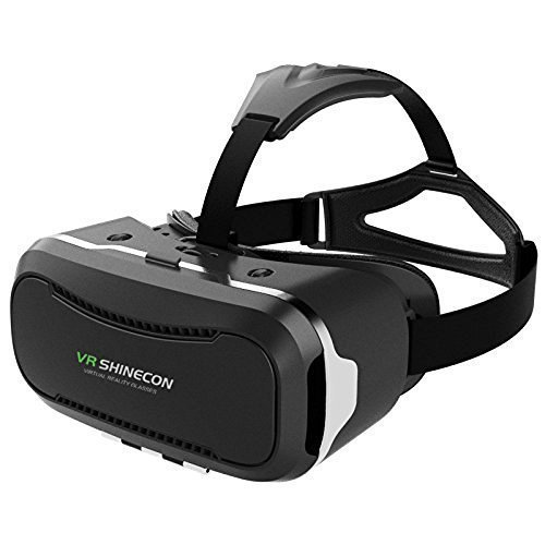 VR SHINECON 2nd VersionVirtual Reality Glasses Headset for 3D Videos Movies Games Compatible with Most 3.5'-6.0' iPhone, Samsung, HTC, LG, Sony, Moto Smartphone (Black)