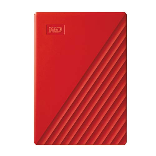 Western Digital WD 2TB My Passport Portable External Hard Drive, Red – with Automatic Backup, 256Bit AES Hardware Encryption & Software Protection