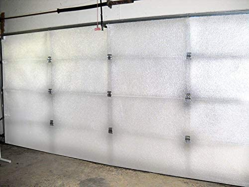 NASA TECH White Reflective Foam Core 2 Car Garage Door Insulation Kit 18FT (WIDE) x 8FT (HIGH) R Value 8.0 Made in USA New and Improved Heavy Duty Double Sided Tape (ALSO FITS 18X7)