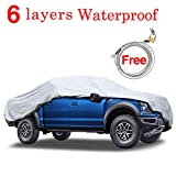 KAKIT 6 Layers Truck Cover - Windproof Waterproof All Weather, for Summer Outdoor, UV Protection, Universal Fit Car Covers for Truck Pickup, Windproof Ribbon & Anti-theft Lock, Fits up to 242