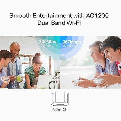 TP-Link-Archer-C6-Gigabit-MU-MIMO-Wireless-Router-Dual-Band-1200-Mbps-Wi-Fi-Speed-5-Gigabit-Ports-4-External-Antennas-and-1-Internal-Antenna-WiFi-Coverage-with-Access-Point-Mode-Qualcomm-Chipset