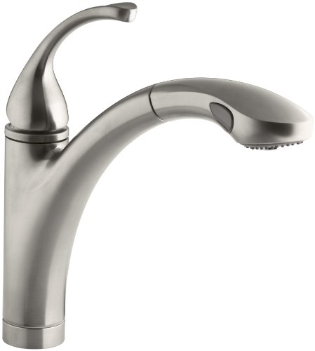 KOHLER K-10433-VS Forte Single Control Pull-out Kitchen Sink Faucet, Single Lever Handle, 1-hole or 3-hole installation, Vibrant Stainless, 2-function Spray Head