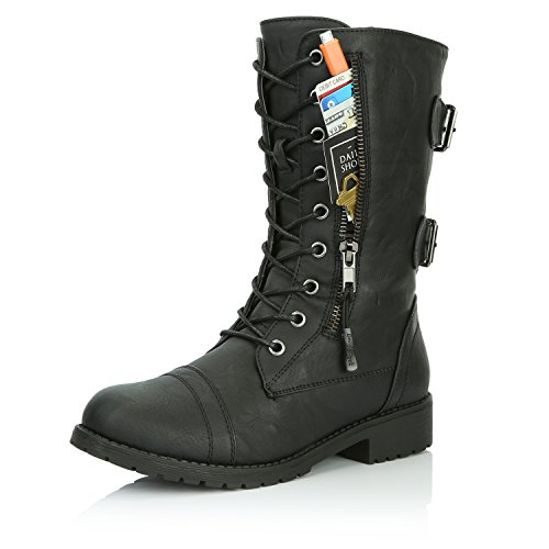DailyShoes Women's Military Lace Up Buckle Combat Boots Mid Knee High Exclusive Credit Card Pocket, Twlight Black, 8 B(M)