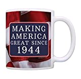75th Birthday Gifts Making America Great Since 1944 Funny 75th Birthday Party Supplies 75th Birthday Gag Gift Coffee Mug Tea Cup USA Flag