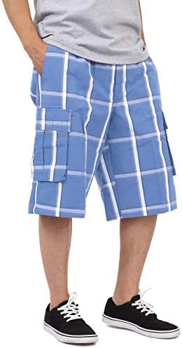 Shaka Wear Men's Men's Cargo Shorts – Casual Plaid Loose Relaxed Loose Fit Elastic Waist Multi Pocket Pants Regular Big S~5XL 1