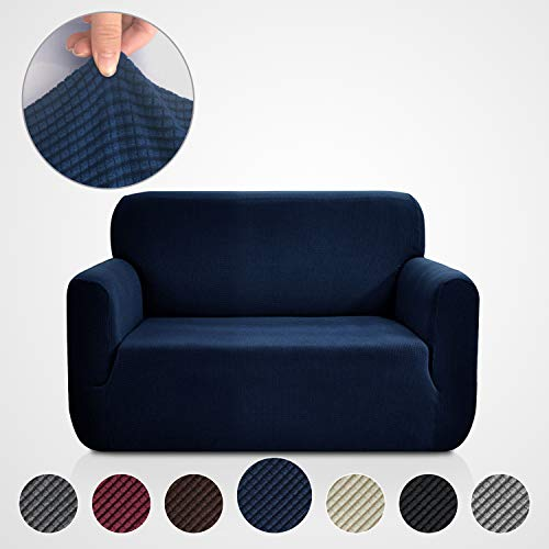 Rose Home Fashion RHF Jacquard-Stretch Loveseat Slipcover Slipcovers for Couches and Loveseats, Loveseat Cover&Couch Cover for Dogs, 1-Piece Sofa Protector(Loveseat: Navy)