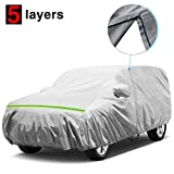 KAKIT Waterproof Jeep Cover, 5 Layers 4 Door All Weather UV Protection Car Cover for Jeep Wrangler with Driver Door Zipper, Fits up to 194'