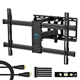 PERLESMITH Full Motion TV Wall Mount Bracket Dual Articulating Arms Bear up to 132lbs for Most 37-70 inch TV with Tilt, Swivel, Rotation fit LED, LCD, OLED, Plasma Flat Screen TV, Max VESA 600x400mm
