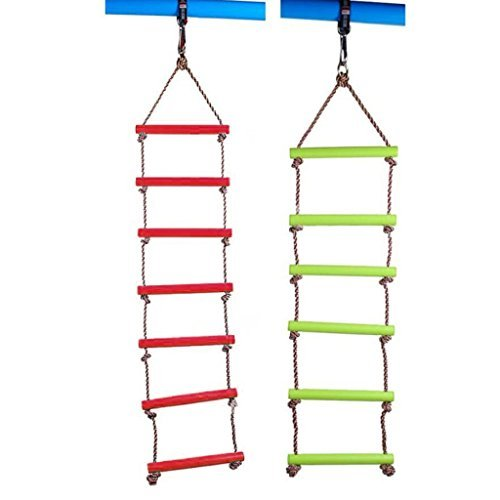Dovewill Kids Indoor and Outdoor Playhouse 6 Rungs 2m Rope Climbing Ladder Tree House Accessories Toy Green
