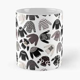 Schitts Creek Sweaters Pattern Black And White - Morning Coffee Mug Ceramic Best Gift
