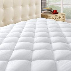 Taupiri King Quilted Mattress Pad Cover with Deep Pocket (8″-21″), Cooling Soft Pillowtop Mattress Cover, Hypoallergenic Down Alternative Mattress Topper
