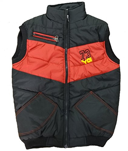 Alfa Yo Premium Sleeveless Light Weight Quilted Polyfill Padded Water/Snow/Wind Proof Red/Black Jacket with Pockets [Size Inside]