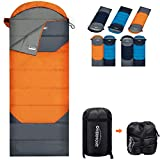 Overmont Camping Sleeping Bag- 3 Season Warm Cool Weather - Summer Spring Fall Winter Envelope Lightweight Waterproof Portable with Compression Sack for Adults Kids