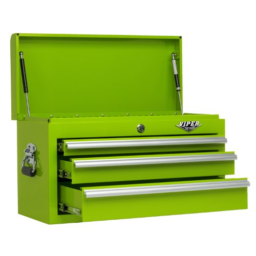 Viper Tool Storage LB2603C 26-Inch 3-Drawer 18G Steel Top Chest, Lime Green