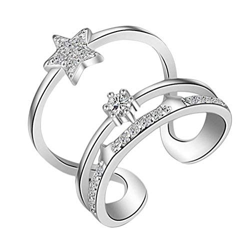 Demana Anillo de moda simple vestido de novia accesorios de joyería,Estrellas Plata