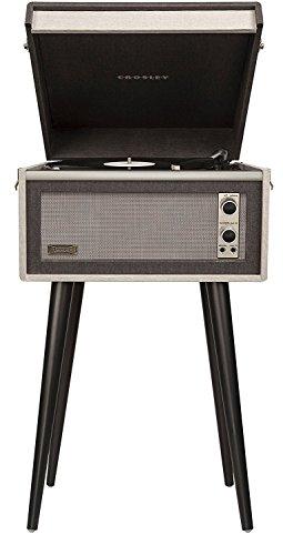 Crosley CR6233U-BK1 Dansette Sterling Portable Turntable with Aux-In, Black/Grey