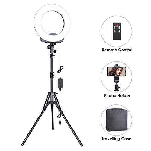 Geekoto Ring Light, LED Ring Light, Lighting Kit for Phone, Light Ring with Adjustable Stand and Phone Holder, 14-inches Outer 38W, 3200K-5500K, Remote Control for Video Shooting
