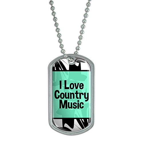Graphics and More Dog Tag Pendant Necklace Chain I Love Heart Sports Hobbies Co-Ea - Country Music