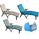 Kozyard Cozy Aluminum Beach Yard Pool Folding Reclining Adjustable Chaise Lounge Chair (Beige with Blue Cushion)