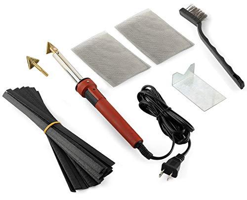 Jounjip Plastic Welding Repair Kit for Bumper, Kayak, Canoe – 2 Tips, 20 Black Plastic Rods, 2 Mesh, 80W Iron, 110V Only