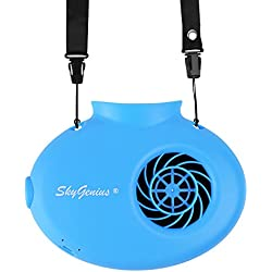 SkyGenius Battery Operated Necklace Fan, Mini Portable USB Rechargeable Fan for Personal Cooling, Kids, Gift, Camping, Outdoor Event, Travel, Concerts, Church, Hot Flash (2018 New Version, Blue)
