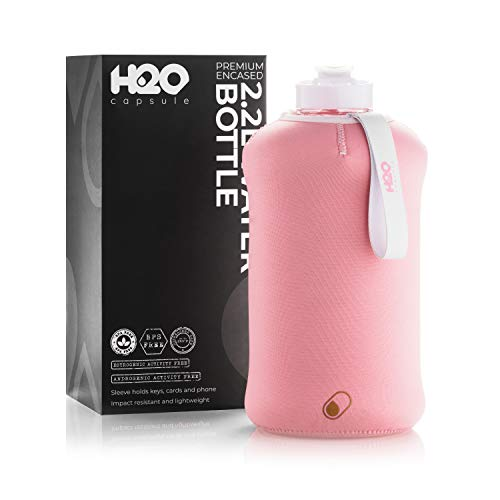 H2O Capsule 2.2L Half Gallon Water Bottle with Insulated Storage Sleeve - Tritan BPA Free Large Water Bottle/2.2 Liter (74 Ounce) Big Sports Bottle Jug with Handle (Rose Quartz)