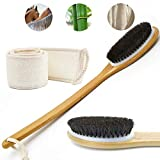 Bath Softer Brush Body Exfoliating Loofah Back Scrubber Set Dry Wet Shower Brushes Long Bamboo Handle Natural Horse Mane Home SPA Women Men Skin Care