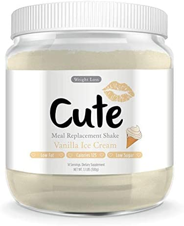 Cute Nutrition Vanilla Ice Cream Meal Replacement Shakes for Weight Loss Control & Energy for Women High Protein Low Calorie Low Sugar 17.63oz tub 1