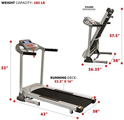 Sunny Health & Fitness Electric Folding Treadmill with Auto Incline 6