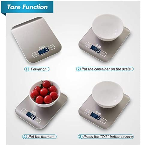Digital Kitchen Food Scale, TNO Multifunction Stainless Steel Scale, LCD Display, 11LB/5KG, Sliver (Included Batteries) 7