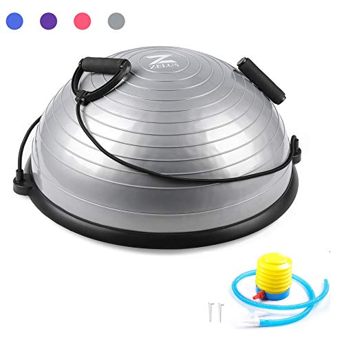 ZELUS Balance Ball Trainer Half Yoga Exercise Ball with Resistance Bands and Foot Pump for Yoga Fitness Home Gym Workout (Gray)