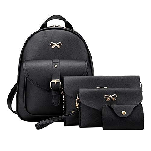 Alice Girls 4-PCS Fashion Cute Mini Leather Backpack sling & pouch set for WomenAlice Girls 3-PCS Fashion Cute Mini Leather Backpack sling & pouch set for Women (black)
